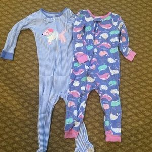 2 sets of one piece pajamas. Size 2T